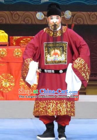 Yuan Yang Pu Chinese Ping Opera Magistrate Costumes and Headwear Pingju Opera Clown Male Apparels Clothing
