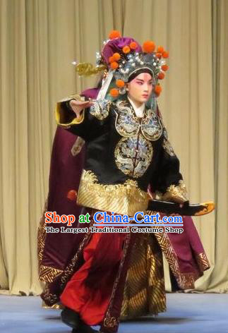 Linjiang Post Chinese Ping Opera Wusheng Cui Wenyuan Costumes and Headwear Pingju Opera Martial Male Apparels Takefu Clothing