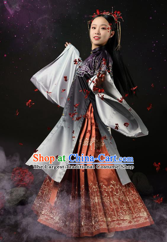 Traditional Chinese Court Princess Apparels Ming Dynasty Historical Costumes Ancient Embroidered Hanfu Dress for Women