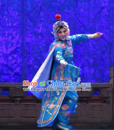 Chinese Ping Opera Female Swordsman Blue Costumes Apparels and Headpieces Yang Bajie You Chun Traditional Pingju Opera Wudan Dress Garment
