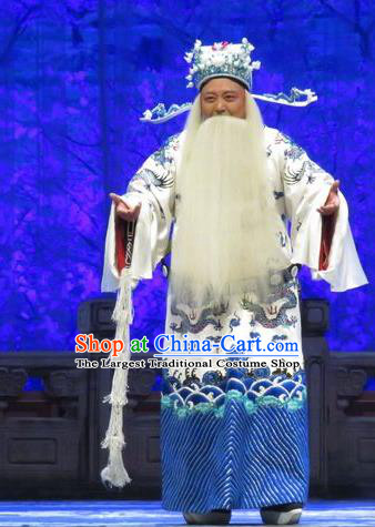 Yang Bajie You Chun Chinese Ping Opera Minister Costumes and Headwear Pingju Opera Elderly Male Bao Zheng Apparels Official Clothing