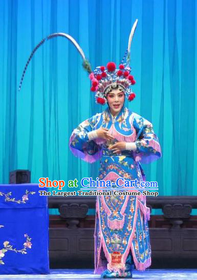 Chinese Ping Opera Blues Costumes Apparels and Headpieces Yang Bajie You Chun Traditional Pingju Opera Swordsplay Female Dress Garment