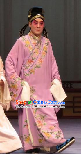 Chong Yuan Ji Chinese Ping Opera Young Male Costumes and Headwear Pingju Opera Xiaosheng Apparels Clothing