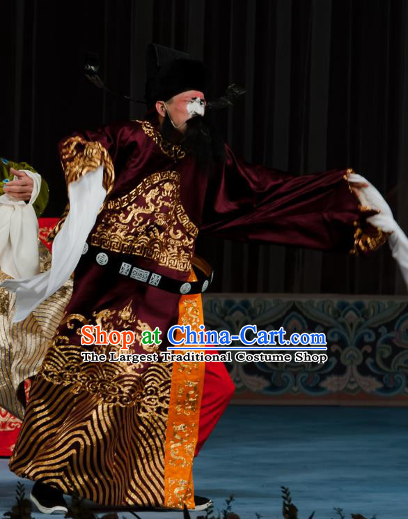 Ma Zhaoyi Chinese Ping Opera Elderly Male Costumes and Headwear Pingju Opera Laosheng Official Apparels Clothing