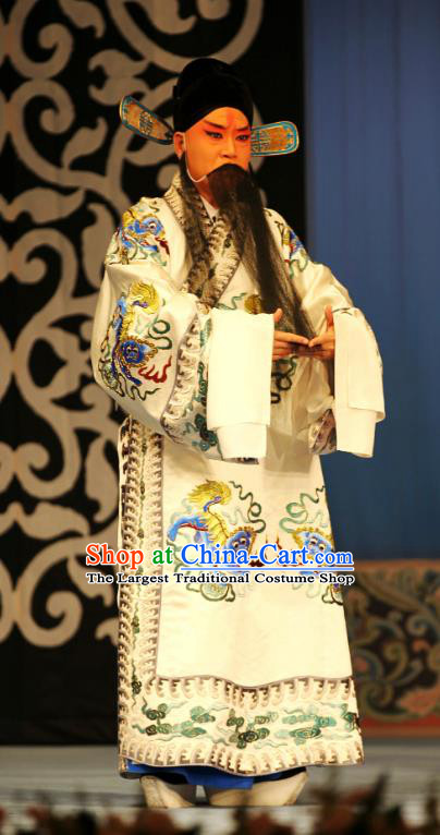Ma Zhaoyi Chinese Ping Opera Costumes and Headwear Pingju Opera Laosheng Apparels Elderly Male Clothing