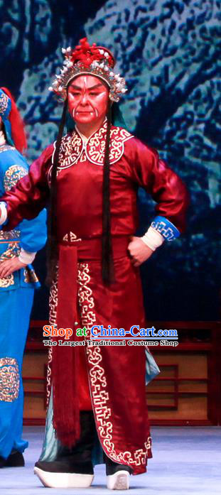 Shao Gu Ji Chinese Ping Opera Wusheng Red Garment Costumes and Headwear Pingju Opera Martial Male Apparels Clothing