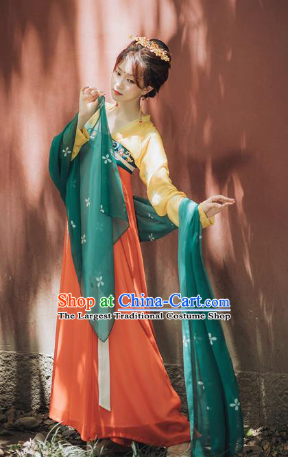 Chinese Ancient Court Lady Hanfu Dress Garment Traditional Tang Dynasty Royal Princess Historical Costumes for Women