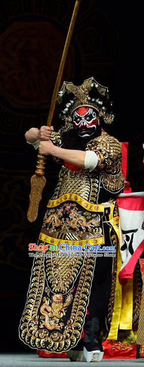 Dan Dao Hui Chinese Sichuan Opera General Zhou Cang Apparels Costumes and Headpieces Peking Opera Highlights Military Officer Garment Armor Clothing
