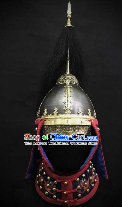 Traditional Chinese Ming Dynasty General Armet Iron Hat Headpiece Ancient Military Officer Cavalry Helmet for Men