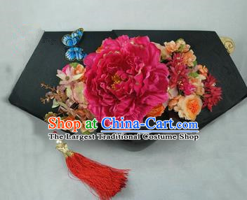 Chinese Traditional Qing Dynasty Queen Hair Accessories Rosy Peony Flag Bun Drama Ancient Imperial Concubine Headwear