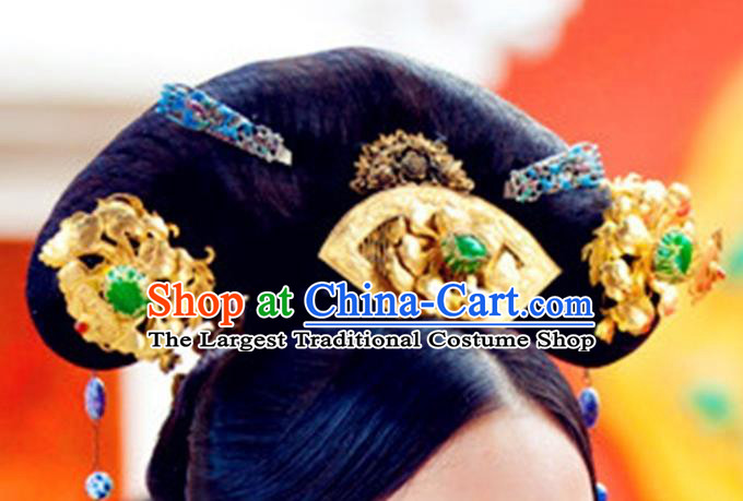 Chinese Traditional Qing Dynasty Palace Lady Wigs and Hairpin Headwear Drama The Palace Ancient Empress Lian Er Hair Accessories