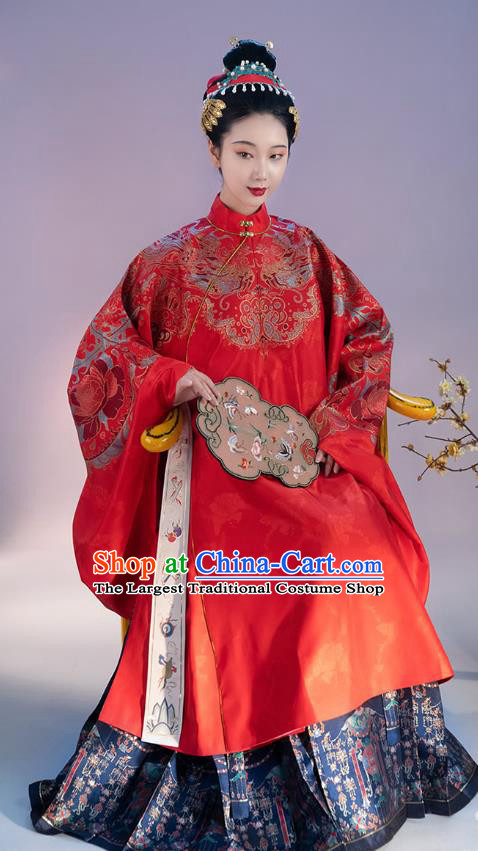 China Ancient Imperial Empress Red Hanfu Dress Apparels Traditional Ming Dynasty Court Wedding Historical Costumes