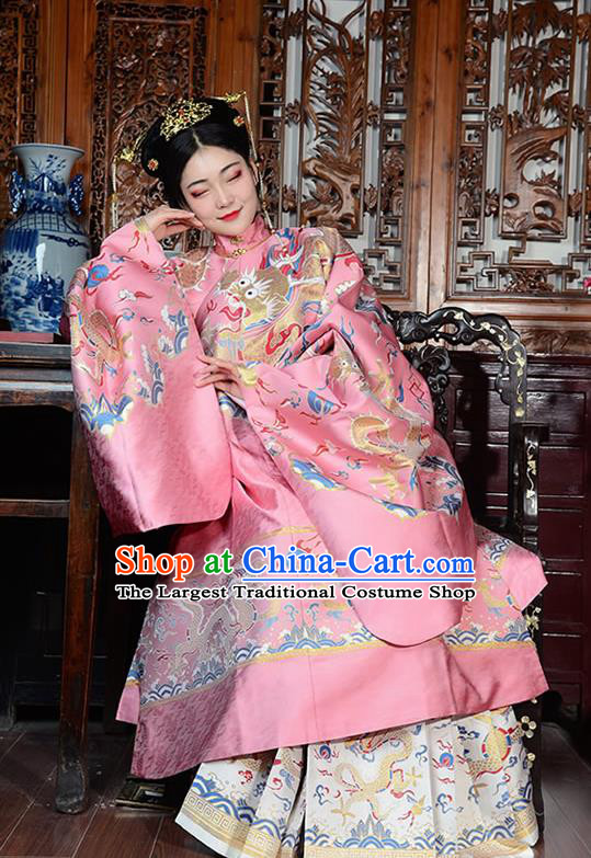 China Ancient Court Queen Wedding Pink Costumes Traditional Ming Dynasty Imperial Empress Historical Clothing Full Set
