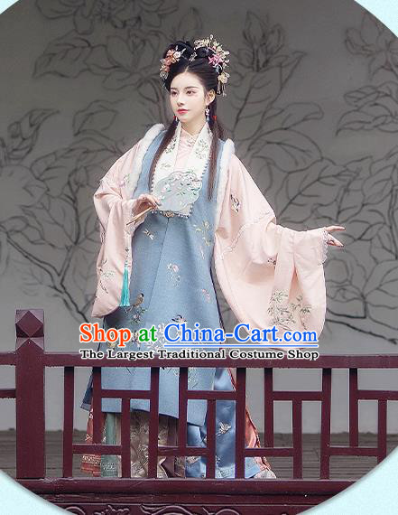 China Ancient Ming Dynasty Palace Princess Historical Costumes Traditional Hanfu Embroidered Apparels Full Set